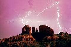Lightning at Red Rock Crossing royalty free stock photos