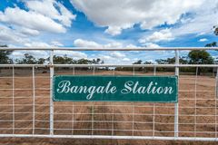 Wide angle of Bangate Station entrance and gate to outback property stock images