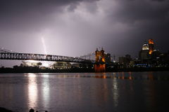 Lightning on the River. A shot right before a big summer storm Stock Photos