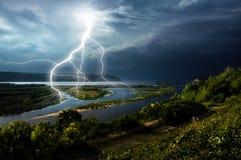 Lightning on river Volga in a Samara city. River Volga in a Samara city, Russia. Top view Stock Photo