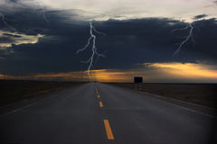 Lightning and The Road Stock Photography