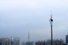 Lightning rod( lightning arrester) against blue sky Royalty Free Stock Images