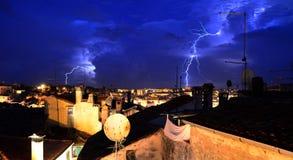 Lightning in Rovinj Stock Images