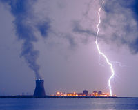 Lightning and Salem Power Plant 2 Stock Photos
