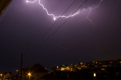 Lightning in Saltdean, Brighton, interesting thick bolt of lightning. Royalty Free Stock Photos