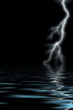 Lightning by the sea. Tempest and lightning at the night by the sea Stock Image