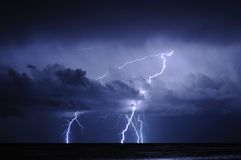 Lightning at sea. Real lightning strike at sea Royalty Free Stock Photography