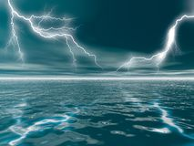 Lightning at Sea Royalty Free Stock Image