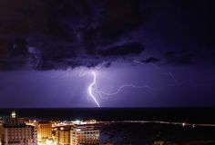 Lightning seen in Gaza City. Lightning is seen above the coastal city of Gaza on oct 23, 2018, as the worst storm of the winter hits Gaza city stock photo