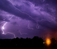 Lightning. Shot at college late at night beautiful lightning natural color Royalty Free Stock Image