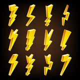 Lightning Sign Vector Set. Cartoon Golden 3D Lightning Isolated Illustration. Flash Of lightning. Thunder Bolt Symbols. 3D Lightning Icons Vector Set. Cartoon Royalty Free Stock Photos