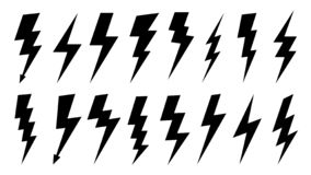 Lightning silhouette. High voltage electrical power symbol, electric lightnings and thunderbolt silhouettes. Vector