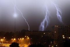 Lightning on the sky in the city Royalty Free Stock Photos