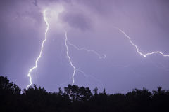 Lightning. In the sky at night Stock Photos