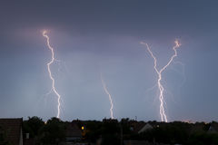 Lightning on the sky. Lightning on the night sky above the suburb Stock Images