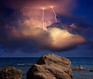 Lightning over Karadag. Eastern Crimea, near Feodosia. Lightning sparkle over the Black Sea, Eastern Crimea, near Feodosia and Koktebel royalty free stock image