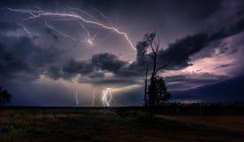 lightning in spring. stock image