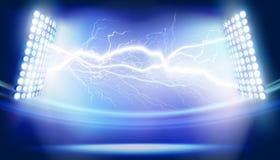 Lightning on the stadium. Vector illustration. Stock Photos