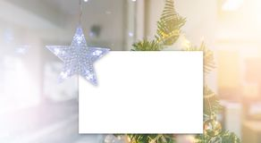 Lightning Stars hanging with paper card for decoration during the winter time for Christmas royalty free stock photography