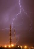 Lightning storm. Over radio mast Royalty Free Stock Photos