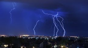 Lightning Storm. Over South-West Colorado Springs, Colorado, USA. Overnight Heavy Thunderstorm - City, Storm Cloudscape and Few Lightnings. Powerful Nature Royalty Free Stock Images