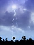 Lightning Storm. And Suburban Skyline Silhouette Royalty Free Stock Photography