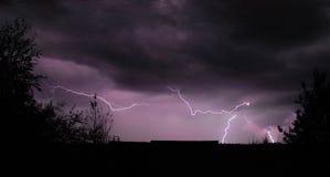 Lightning Storm. And Skyline Silhouette Stock Photo