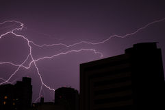 Lightning Storm. Big Lighting in the City stock image