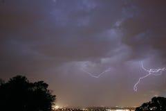Lightning Storm. Sky lit up by many lightning bolts royalty free stock photos