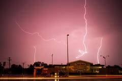 Lightning Storm Above Apple Market in Kearney, Nebraska. A severe lightning storm knocked out power in Kearney, Nebraska on May 16, 2017 Royalty Free Stock Photography