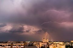 Lightning storm above the city Royalty Free Stock Image