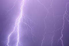 Lightning storm background Stock Photography