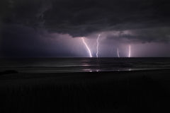 Lightning Storm. At the beach Stock Image