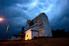 Lightning Storm Canada. Rural Grain Elevator Countryside stock photography