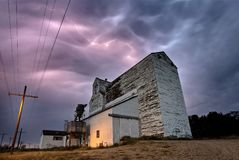 Lightning Storm Canada. Rural Grain Elevator Countryside royalty free stock photos