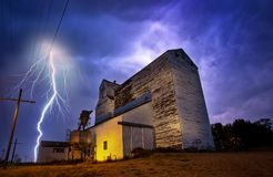 Lightning Storm Canada. Rural Grain Elevator Countryside stock images