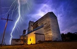 Lightning Storm Canada. Rural Grain Elevator Countryside royalty free stock image