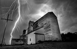 Lightning Storm Canada. Rural Grain Elevator Countryside royalty free stock images