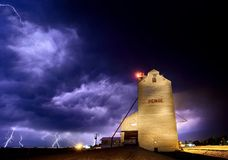 Lightning Storm Canada. Rural Grain Elevator Countryside royalty free stock photography