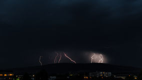 Lightning storm in the city royalty free stock photography