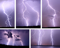 Lightning Storm Collage Stock Images