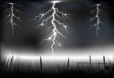 Lightning storm with on a dark background. Illustration of Lightning storm with on a dark background Stock Images