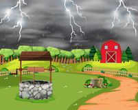 Lightning storm landscape scene. Illustration vector illustration