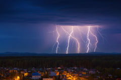 Lightning storm at night Royalty Free Stock Photos