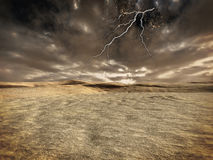Lightning storm over alien planet Royalty Free Stock Image