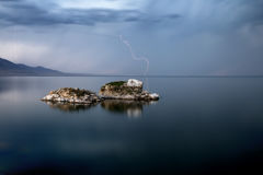 Lightning Storm over big lake Stock Photography