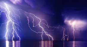 Lightning storm. Over Black sea near Feodosia royalty free stock photo