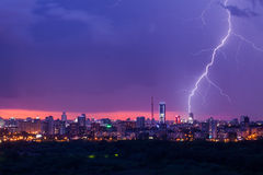 Lightning storm over city Stock Image
