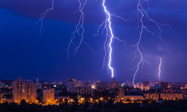 Lightning storm over city Royalty Free Stock Images