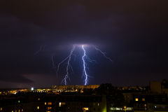Lightning storm over city. Royalty Free Stock Photos